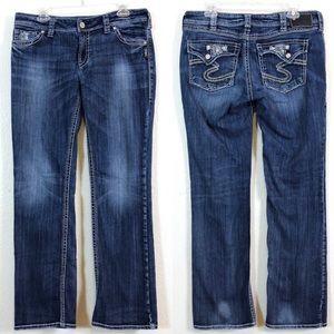 "Silver Jeans Suki Flap 17"" Bootcut Embellish 34/31"
